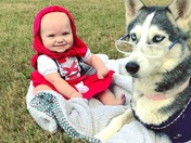 This is our Little Red Riding Hood my granddaughter Elliot Morris