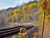 Railroad track in a curve.