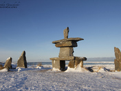 Set of rocks and a inuksuk and inukshuk found near Churchill