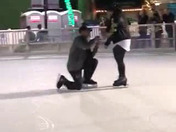 Surprise proposal downtown sac ice skating rink