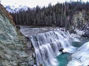Wintery Wapta waterfall