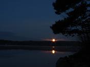 Super Moon Setting Over Long Lake