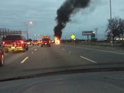 Burning vehicle on I-85 North Bound around 5:30 PM