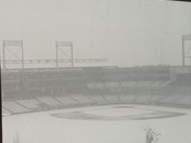 Woke up to this view from my apt. Snow at Regions field.