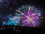 Firework over Jacques-Cartier's bridge