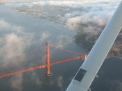 Over  San Francisco's Golden Gate Bridge.