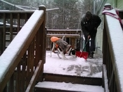 Helping with shoveling