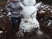 My granddaughter Angelle created the most unique snowman: a pig!