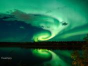 Aurora Borealis over the N Saskatchewan River
