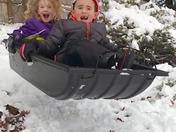 My kids sledding in Derry