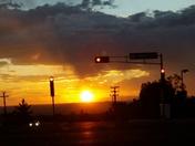 Sunset at a traffic light
