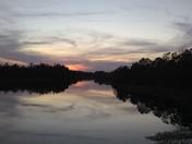 Lake Blanchard park at sunset.