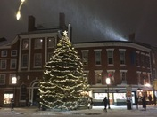 Snowy eve on the square.