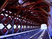 Inside of a covered bridge.