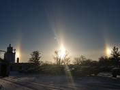 Winter morning sun dogs