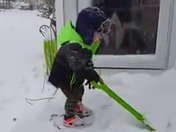 On his birthday, Grayson shoveling out from Storm Grayson in Worcester