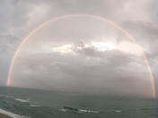 Panoramic shot of rainbow in Juno Beach at 5:30 pm today