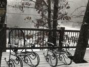 Snowing!! Lost Bridge Village on Beaver Lake.