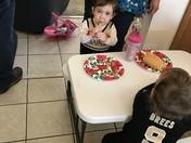 Future Jr. Saintsations eating before the big game!!!