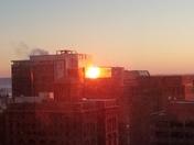 Morning sunrise over downtown Omaha. Sun reflecting off downtown Omaha buildings