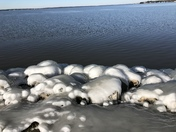 The Reservior today. Ice formation on the rocks.