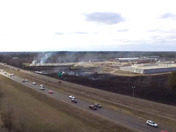 This is drone footage from the fire on interstate 2-20 earlier today while firefighters were on site