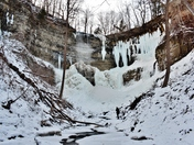 Lonely hiker at the bottom of frozen Tews waterfalls
