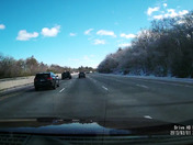 Snow flying off the roof of a truck on I-93 wednesday Jan 24/201 at 1 PM.