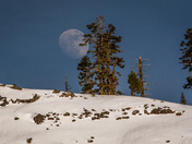 Near Full Moon Rises over Lassen Park