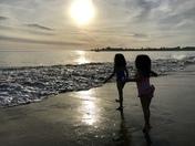 My daughters enjoying the evening at Seabright Beach, Santa Cruz