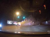 Pickup truck on fire