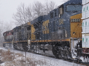 BCRAIL 4643 Leading CN M324-21 through Alburg VT in the snow