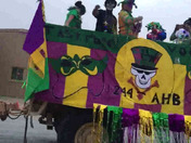 Louisiana national guard unit (1-244th AHB) float and parade tracker in Kuwait Mardi Gras parade