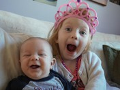 First laughs between a sister and a brother