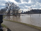 Bellevue Beach Park in Bellevue, Kentucky looking toward downtown Cincinnati.