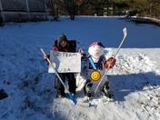 "Snowman built in honor of Team USA ""Women's Hockey"""