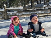 Konner and Kailey loving the snow