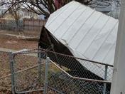 Winds overturned shed