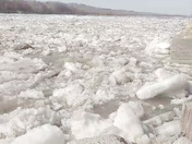 Ice flow on Platte River on Big Island Road near Fremont