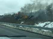 Rock crusher burning on Route 3 North in Norwell this afternoon.