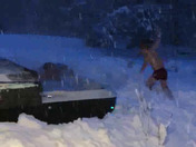 7 year old Alix Donhauser from Boxford snow dives from hot tub!!