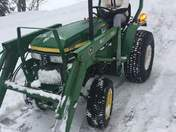 Emily Plow/Tractor driving school  Still snowing in Orford NH