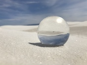 Glass ball at white sands