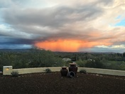 A microburst during sunset caught on camera from our backyard!