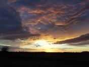 Beautiful Oklahoma sunset near Amber on St. Patrick's Day 2017.
