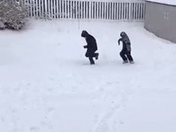 Kids playing in the snow in Carroll county