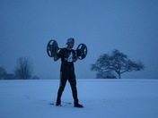 Lift NH Morning workout at the commons in New Castle during the storm earlier this morning.