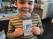 "For his ""Nn"" letter card this week, he wanted to draw the WYFF News logo!"