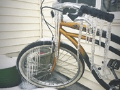 Just a bike with icicles on it
