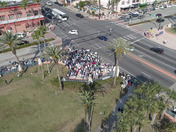 This is a time lapse drone video of the gathering of demonstrators